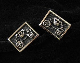 Carriage Cuff Links, Antique Look Dimensional Design