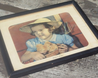 Retro Framed Picture farm Girl with Baby Chicks