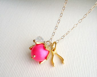 Gold Wishbone Necklace Neon Pink Necklace Fashion Jewelry, Neon Necklace, Pendant, Lucky Charm, Modern Jewelry