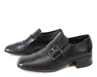 Vintage Black Leather Shoes Florsheim Heels Buckle Men Size 8D
