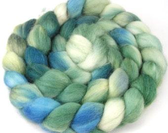 Spinning Fiber - Baby Alpaca Combed Top  /  Roving 4 oz - Blue Sage