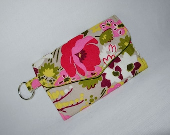 Mini Wallet Card Case Coin Purse Key Ring Designer Fabric Pink Green Floral
