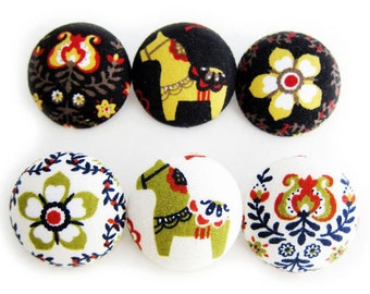 6 Large Fabric Buttons Set - Swedish Delights