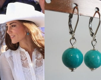 Kate Middleton Inspired Turquoise Sterling Silver Drop Earrings