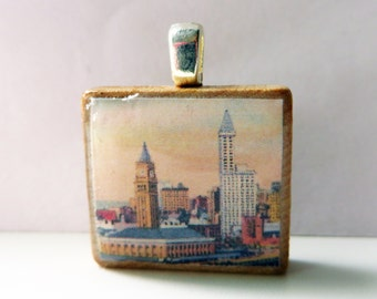 Vintage Seattle scene with King Street Station and Smith Tower -  vintage postcard Scrabble tile pendant