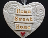 Ceramic heart decoration Home Sweet Home.