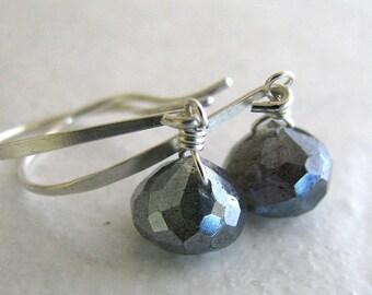 Labradorite Earrings, Mystic Labradorite Earrings, Sterling Silver, Blue Gray Gemstone, Dangle - Ice Pearls