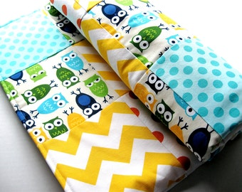 Patchwork Quilted Baby Blanket, Urban Zoologie Owls in Blue - READY TO SHIP