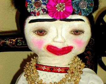 Prim Style Art Doll Frida Kahlo  Rag Doll Artist Muse