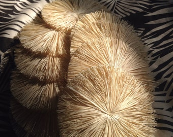 "Raffia Flowers natural color 3"" 10pk"
