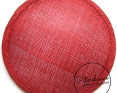 14cm Red Round Millinery Sinamay Hat Base for Fascinators, Cocktail Hats and Wedding Veils