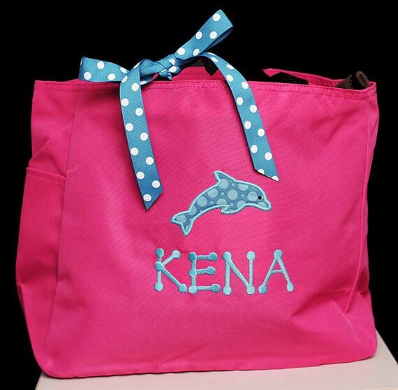 Swim Lesson Bag: Items Similar To Dolphin Tote Bag, Girls Or Boys, Custom
