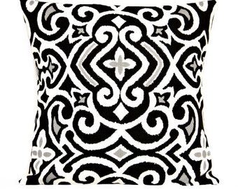 Black Damask Pillow Cover Cushion Gray White Modern Decorative 16x16