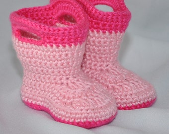 Crochet Baby Boots, Baby Booties, Baby Galoshes, Baby Rain Boots