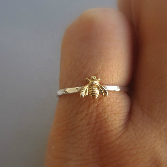 Simple tiny sterling silver bee ring, silver and gold brass stacking ring, hammered band ring