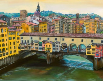 Florence Oil Painting - 18x12in Giclee Print