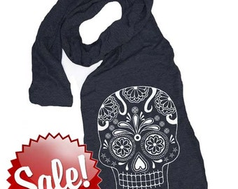 SUGAR SKULL scarf -- american apparel tri blend t shirt material (5 Color Options) skip n whistle