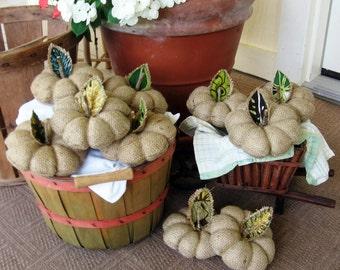 Burlap Pumpkin, Small. Fall, Autumn, Thanksgiving, Halloween Decor. Pin Cushion. Handmade in Hawaii.
