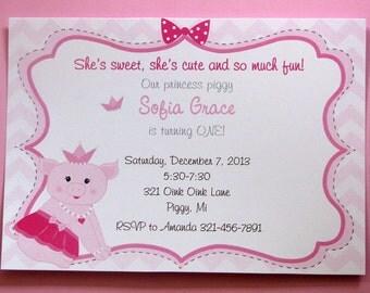 Princess Piggy Invitations for Girls Pink Chevron