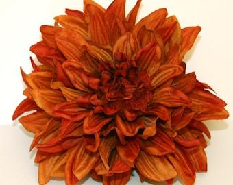 1 ENORMOUS Burnt Orange Silk Dahlia - Artificial Flower - PRE-ORDER