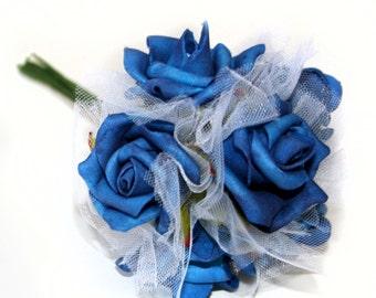 1 Blue Rose Bouquet  - Artificial Flowers, Silk Flowers