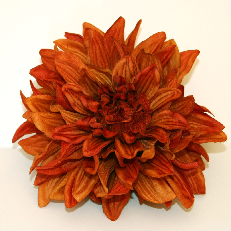 Silk Orange Fall Flowers: 1 ENORMOUS Burnt Orange Silk Dahlia Artificial Flower