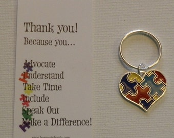 Autism Puzzle Heart Keychain