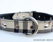 "Plaid Leather Dog Collar, 1"" Classic Plaid leather dog collar, small leather dog collar, Leather Dog Collar, Made In Usa"
