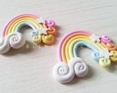 2 Pieces Large Pastel Colour Rainbow Embellishment, Cellphone Kawaii Decoden, Scrapbooking Embellishment