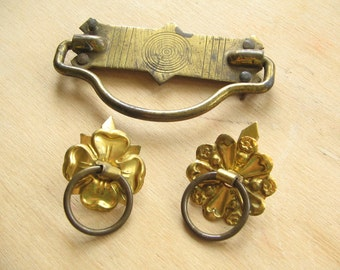 Salvaged Vintage Brass Metal Handle and plate and Floral Brass Draw Pulls