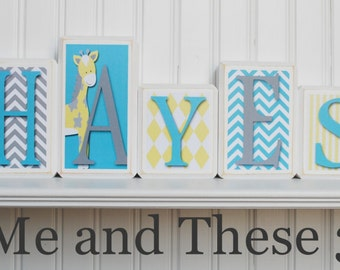 Wood letter name blocks - Custom to your style - turquoise aqua yellow white grey giraffe