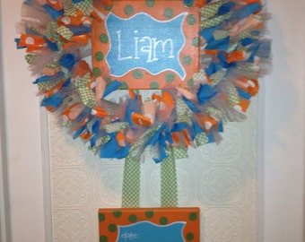 Custom Boutique Baby Wreaths, Birth Announcements, and Hospital Door Hangers. Welcome Baby Wreath