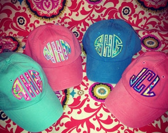 Ladies Monogrammed Fabric Applique Baseball Cap. Personalized. Embroidered. For Mom, Bride to be, Bridesmaid SUMMER SPRING BEACH