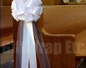 6 Large Pull Bows White, Ivory, Red, Yellow, Royal, Purple, Gold, Silver Pull Bows Tulle Tails Wedding Church Pew Decorations