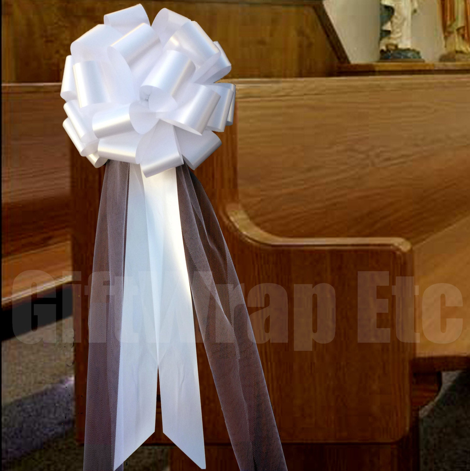 6 Large Pull Bows White Ivory Red Yellow Royal Purple – Tulle Chair Bows