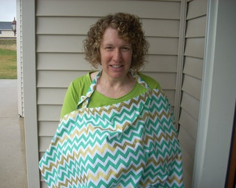 nursing cover in teal chevron and dots - FREE SHIPPING