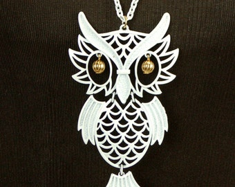 Owl necklace, white owl pendant, enamel owl, articulated, long chain