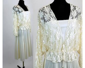Lovely 1970s dress with lace jacket white ivory accordian pleats peplum jacket, Size M