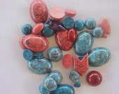 Lucite Cabochons, Red and Turquoise Colored Cabochons, 34 pieces, Multiple shapes, Multiple Sizes