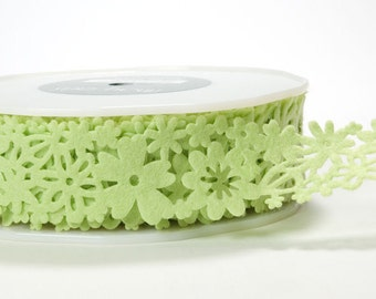 Floral Felt Ribbon - Green - 1.5 inch  - You Choose Yards
