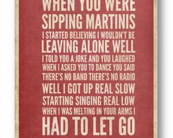 The One That Got Away / Bon Jovi / Lyric / DIGITAL Typography Poster / Printable