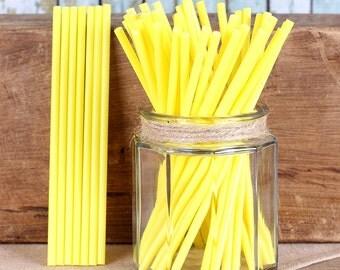 "6"" Yellow Lollipop Sticks, Yellow Cake Pop Sticks, Sucker Sticks, Marshmallow Pop Sticks, Chocolate Lollipop Sticks, Easter Cake Pop Sticks"