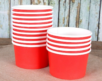 Small Red Ice Cream Cups, Red Ice Cream Bowls, Sundae Cups, Ice Cream Party Cups, Red Dessert Cups, 4oz Paper Ice Cream Cups (18)