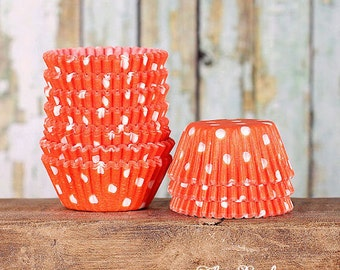 MINI Orange Polka Dot Cupcake Liners, Halloween Orange Polka Dot Candy Cups, Mini Orange Treat Cups, Orange Candy Cups, Halloween (100)