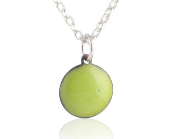 Green Enamel Dot Necklace
