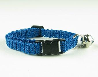 Cat Kitty Kitten Collar Crochet Dark Turquoise blue