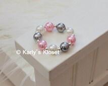 Light Pink, Gray & Ivory Pearl Newborn Baby Girl Bracelet, Newborn Jewelry, Photo Prop, Baby Bracelets, Dainty Pearl, Photography Prop