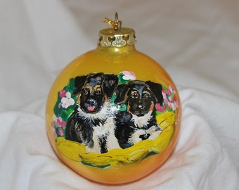 Hand-Painted Ornament -Shepard Puppies Item 1015C