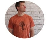 Tree Tshirt, Cotton Crewneck Mens T shirt,  Tee Shirt, Rust, Gifts for Him, Hand Printed, Screenprinted, Rustic Camping Tshirt Nature summer