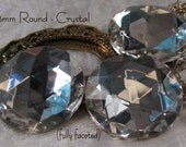 CZECH GLASS - 25mm Round - Crystal(clear) -  Faceted Cabochon - 3 pcs : sku 04.23.14.2 - S53